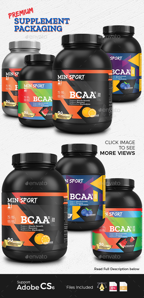 Premium Supplement Packaging - Packaging Print Templates