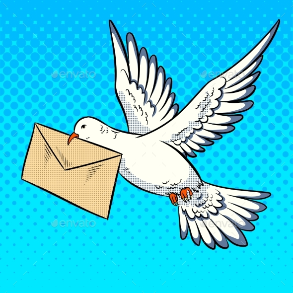 Postal Pigeon with Letter Pop Art Style Vector - Animals Characters
