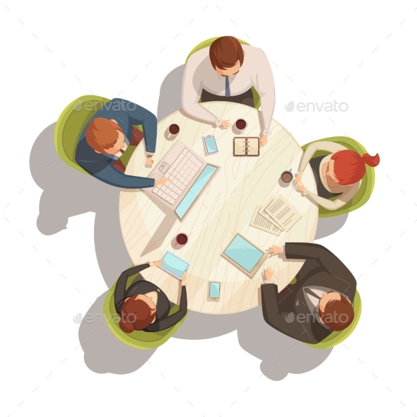 Business Meeting Cartoon Concept - Business Conceptual