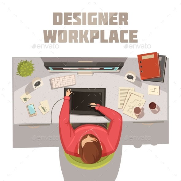 Designer Workplace Cartoon Concept - People Characters