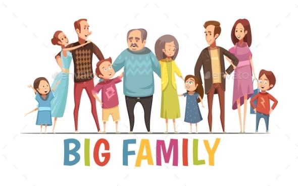 Big Happy Harmonious Family Portrait - Miscellaneous Vectors