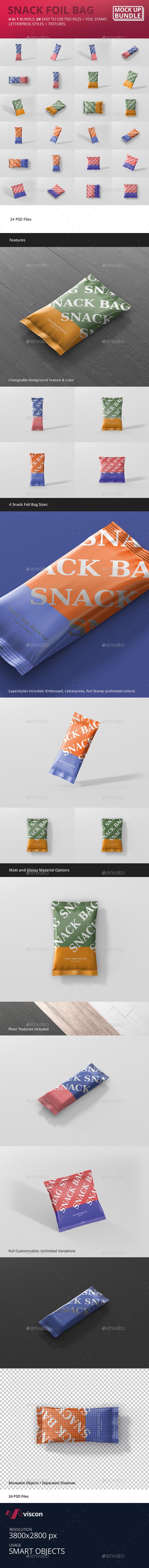 Snack Foil Bag Mockup Bundle - Food and Drink Packaging