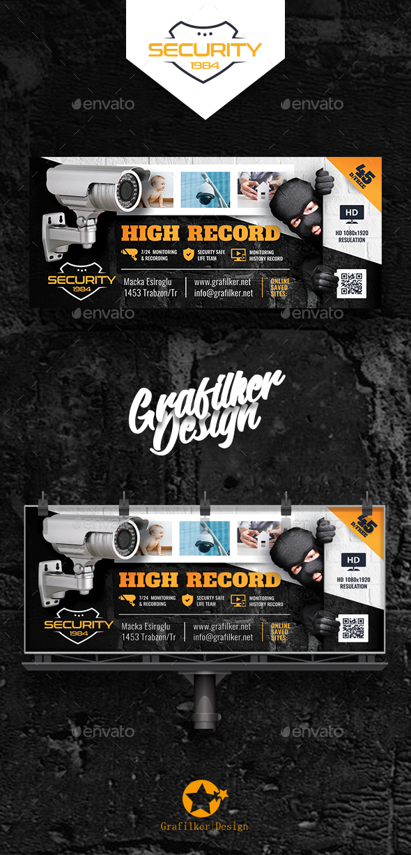 Security System Billboard Templates - Signage Print Templates