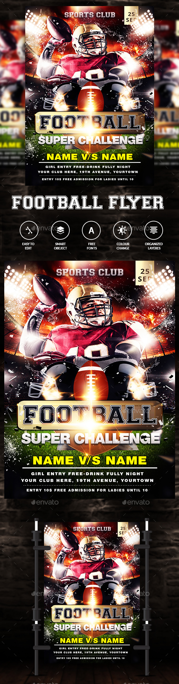 American Football Game Flyer Template - Clubs & Parties Events