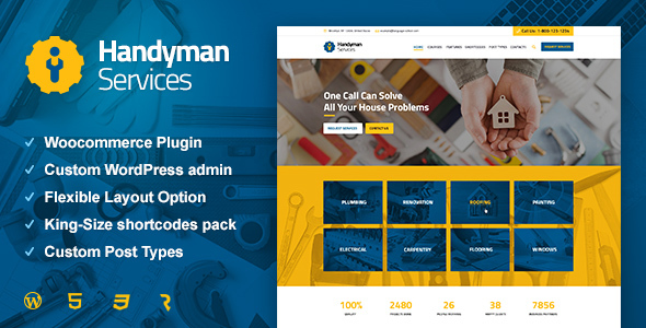 Handyman Solutions – Building &amp Renovation WordPress Theme (Business enterprise)