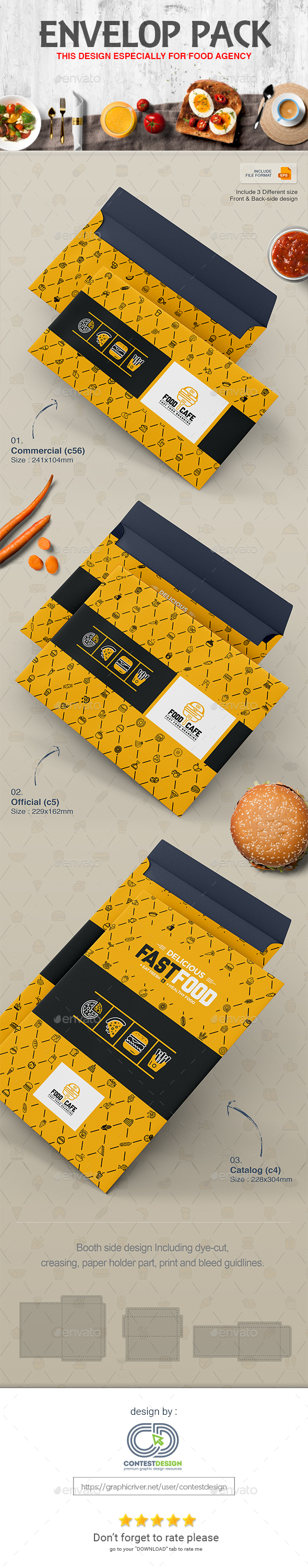 GraphicRiver Envelop Design Pack Template for Fast Food Restaurants Cafe 20350783