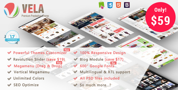 Vela - Premium MultiPurpose Responsive Prestashop 1.7 & 1.6 Theme - Fashion PrestaShop