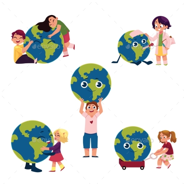 Kids Hugging, Holding, Playing with Globe, Earth - People Characters