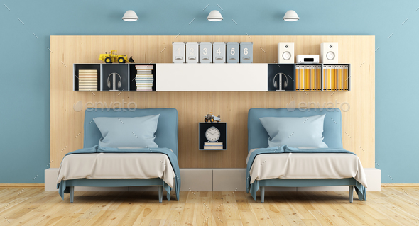 Blue and wooden teenage bedroom - Stock Photo - Images