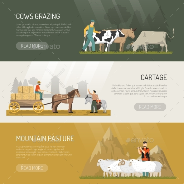 GraphicRiver Farm Animals Pasture Banners 20351469