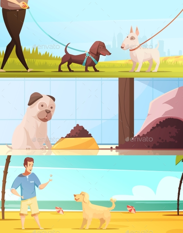 Dog Banners Set - Animals Characters