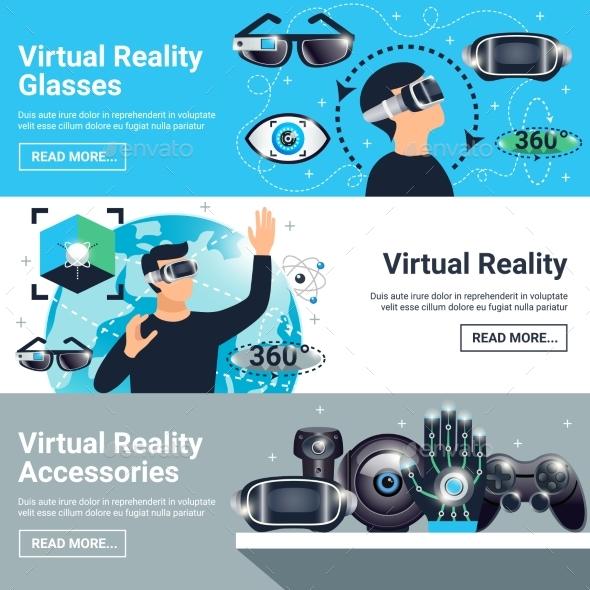 Virtual Reality Banner Set - Technology Conceptual