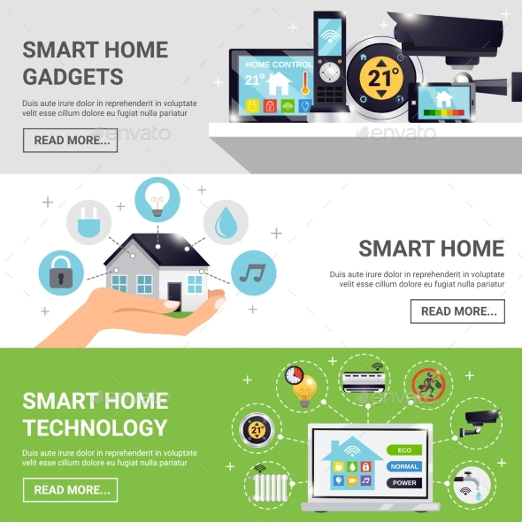Smart Home Horizontal Banner Set - Technology Conceptual