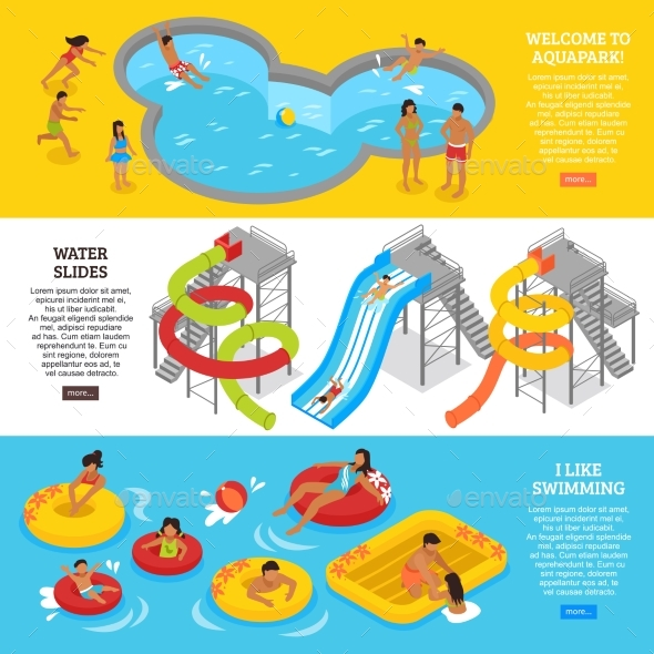 Water Park Banners Set - Sports/Activity Conceptual