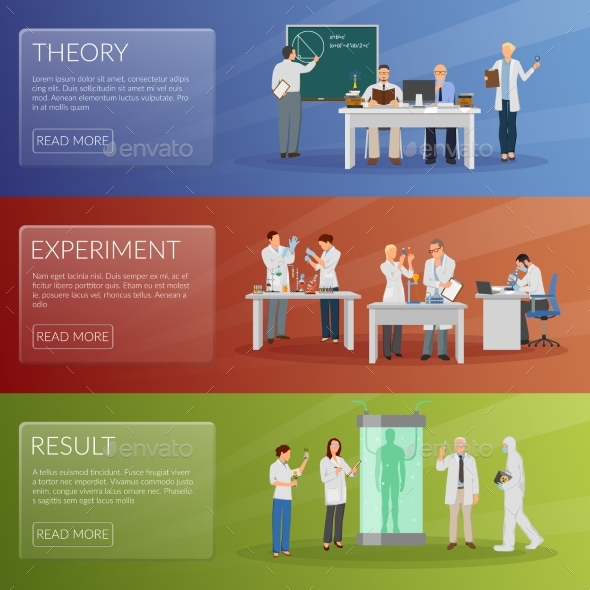 Scientist Banners Set - Technology Conceptual