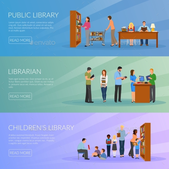 GraphicRiver Library Banners Set 20351532