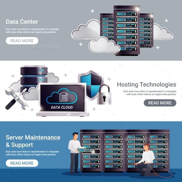 Datacenter Horizontal Banner Set - Computers Technology