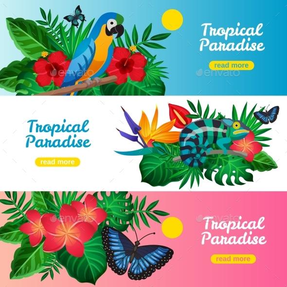 Tropical Horizontal Banner Set - Nature Conceptual