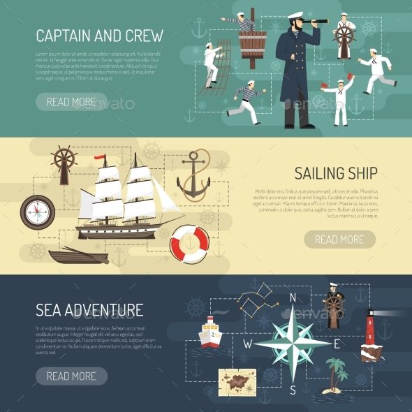 Sailing Horizontal Banners Webpage Design - Man-made Objects Objects