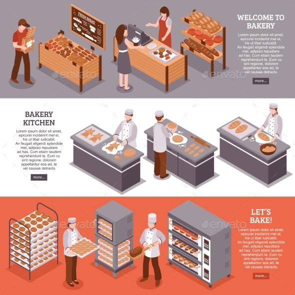 Bakery Isometric Horizontal Banners - Backgrounds Decorative