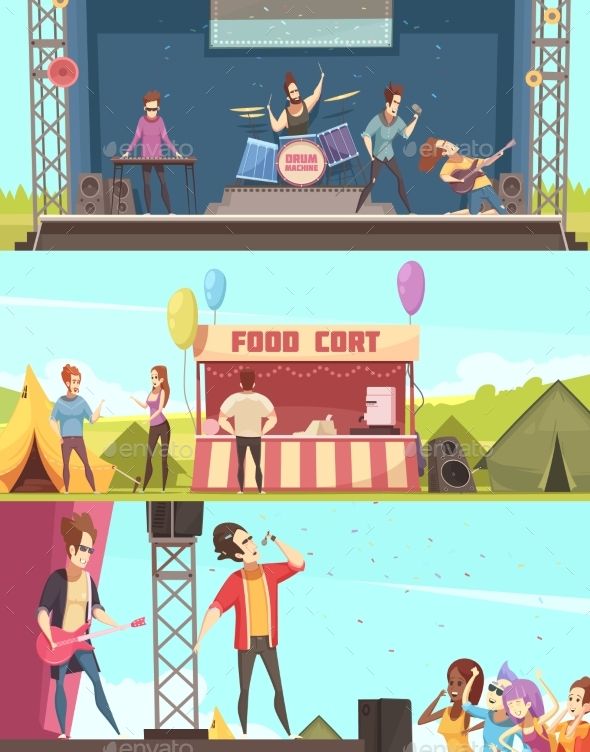 Open Air Festival Banners Set - Food Objects