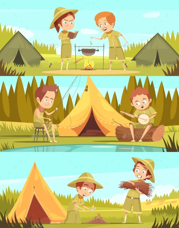 Scouts Activities Cartoon Banners Set - Nature Conceptual