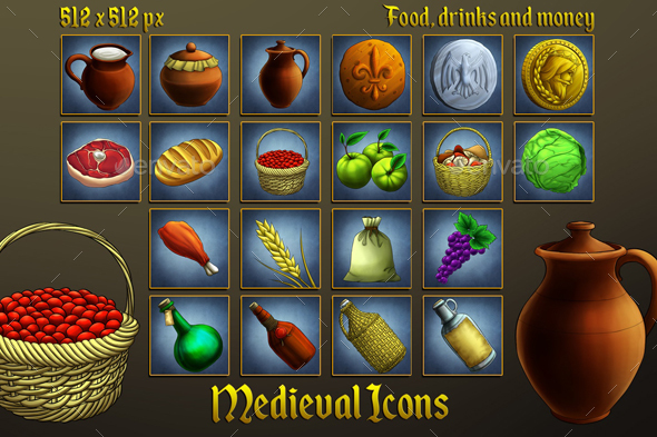 GraphicRiver Middle Ages Icons Food Drinks and Money 20351719