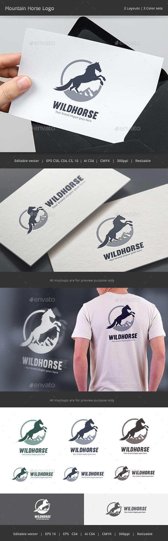 Mountain Horse Logo - Animals Logo Templates