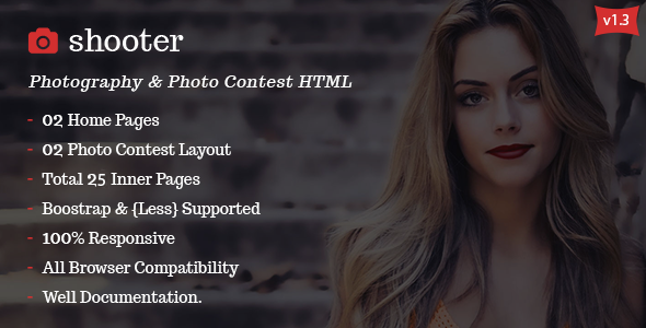 Shooter HTML5 Responsive Photography and Photo Contest Template