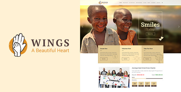 Wings Charity | WordPress Charity Theme - Nonprofit WordPress