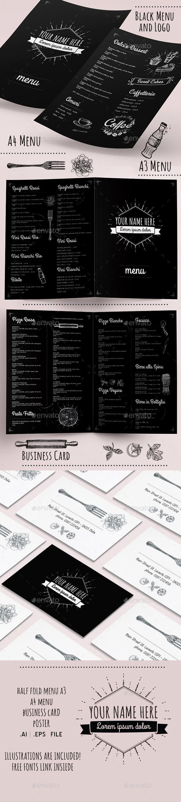 Black Menu and Logo - Food Menus Print Templates