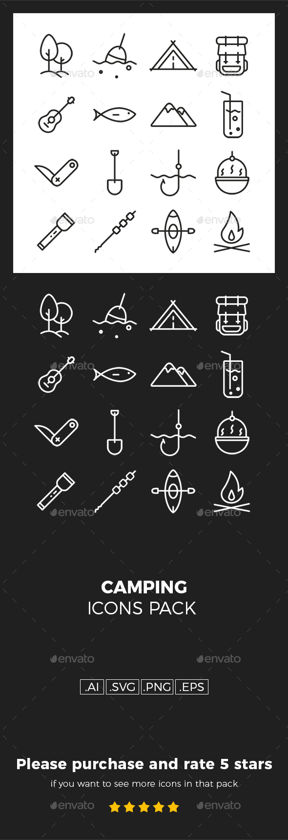 GraphicRiver Camping Icons Pack 20352161