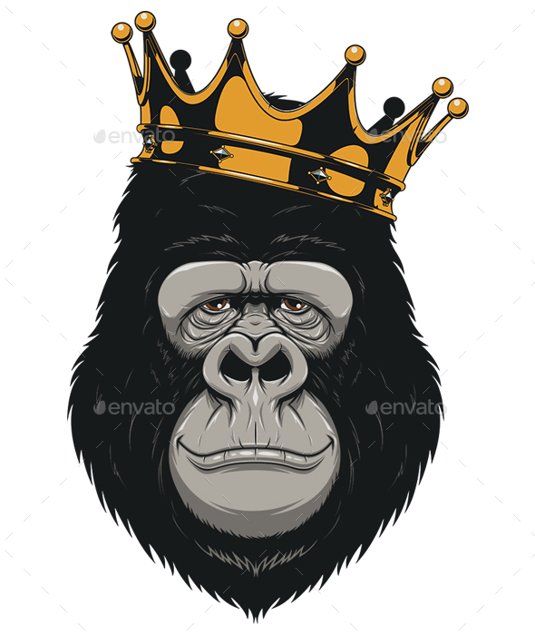 GraphicRiver Gorilla Head with a Crown 20352188