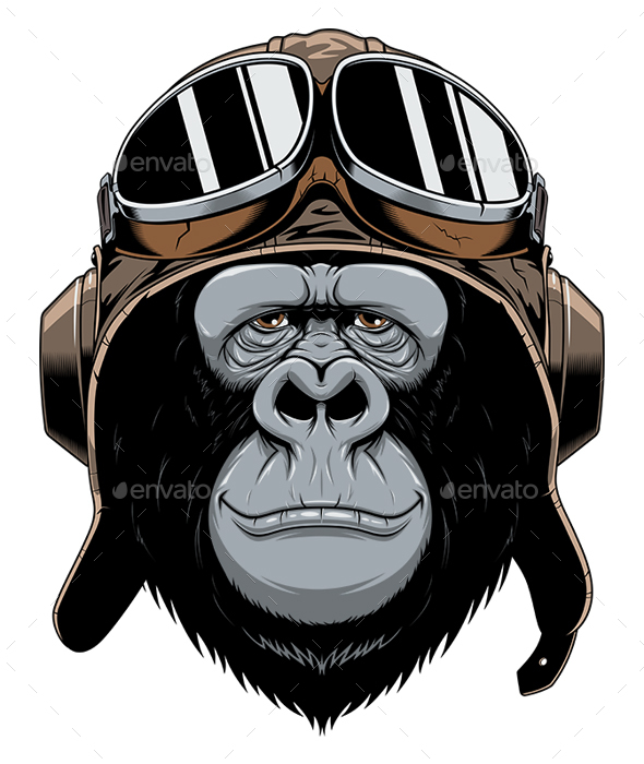 Monkey in Helmet Pilot - Animals Characters