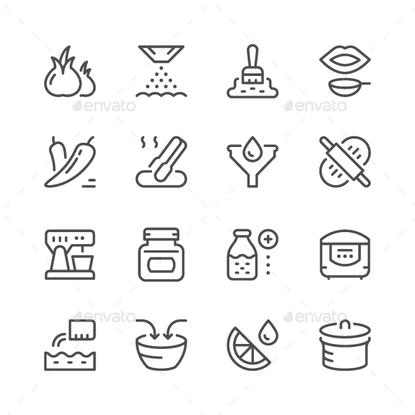 Cooking Related Set Line Icons - Man-made objects Objects