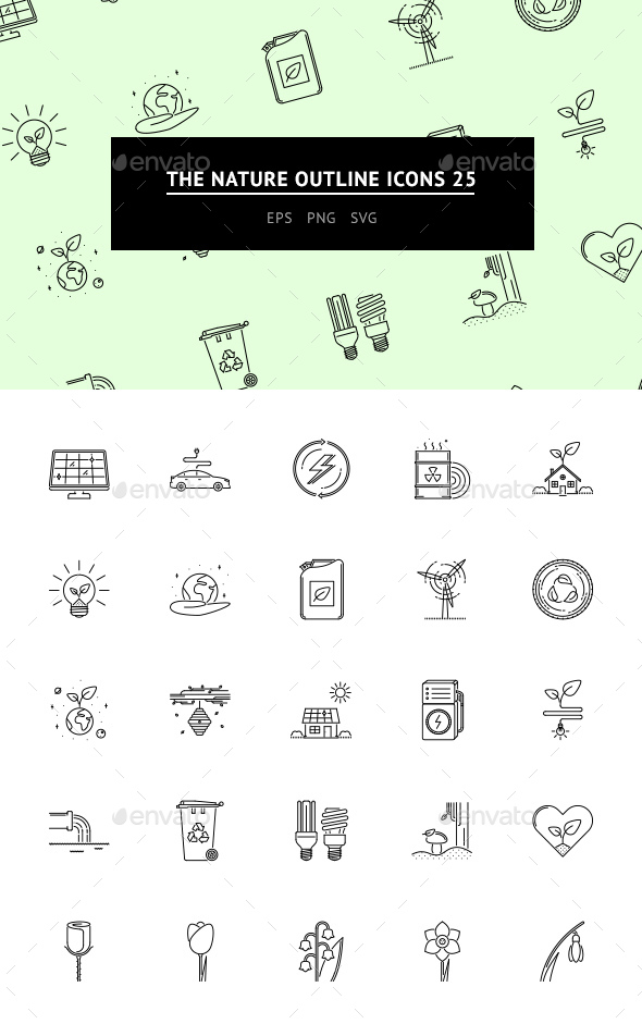 GraphicRiver The Nature Outline Icons 25 20352243