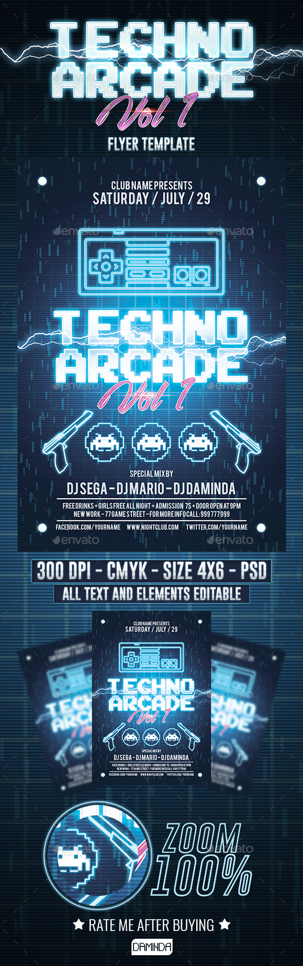 Techno Arcade 2 Flyer Template - Clubs & Parties Events