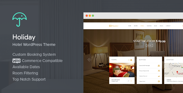 Holiday - Hotel WordPress Theme - Travel Retail
