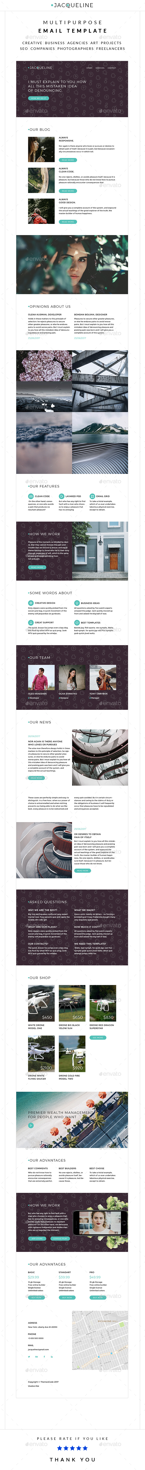 Jacq – Multipurpose Email Template - E-newsletters Web Elements