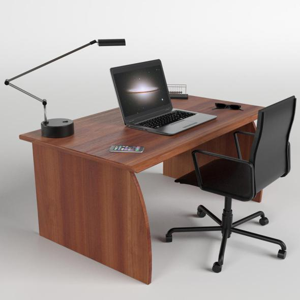 Office Desk with Chair and Laptop - 3DOcean Item for Sale