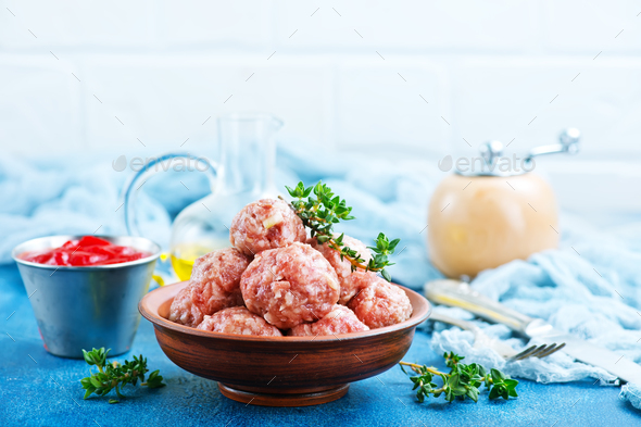 raw meatballs - Stock Photo - Images