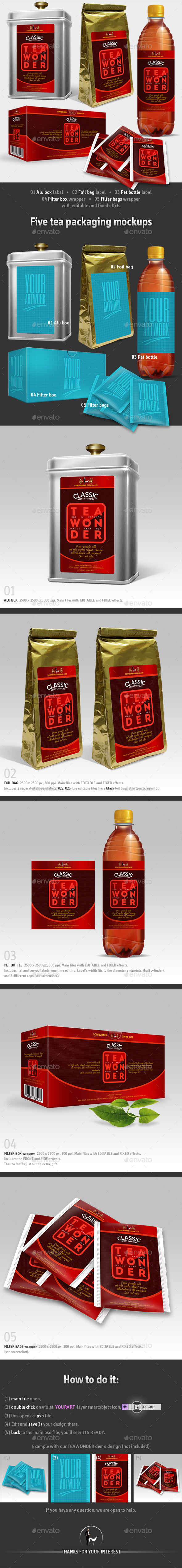 5 Tea Packaging Mockups - Packaging Product Mock-Ups