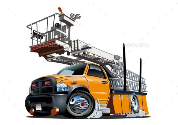 Cartoon Platform Lift Truck - Man-made Objects Objects
