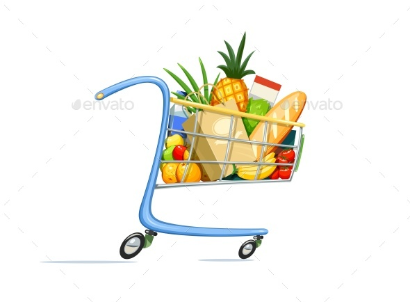Shopping Cart with Foodstuff. - Vectors