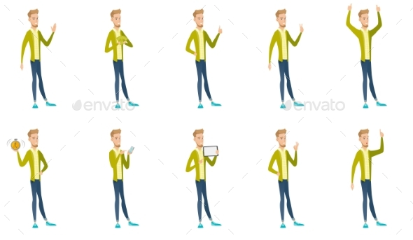 Businessman Vector Illustrations Set - People Characters