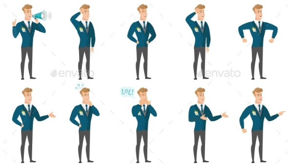 Vector Set of Illustrations with Groom Character - People Characters