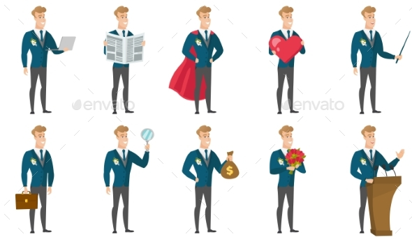 GraphicRiver Vector Set of Illustrations with Groom Character 20353130