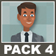Black Businessman And Black Businesswoman Cartoon Characters Pack 4