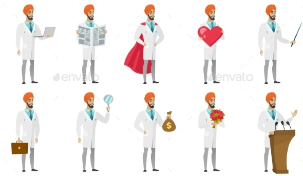 Muslim Doctor Vector Illustrations Set. - People Characters
