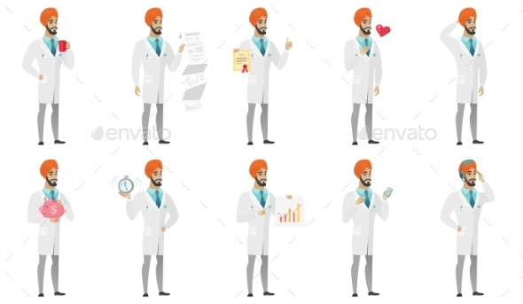 Muslim Doctor Vector Illustrations Set - People Characters